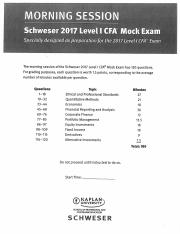 CFA 2017 - Mock Exam - Morning Session