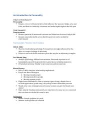 An Introduction to Personality Chapter 11 PSY2012.docx