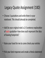 Legacy Quotation Assignment
