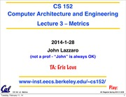 CS 152 Computer Architecture and Engineering Lecture 2 Metrics