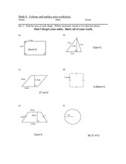 Math 9 Volume and Surface Area