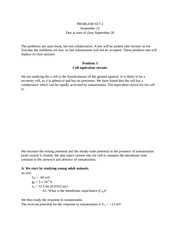 CN2010 Membrane Physiology - Problem Set 2