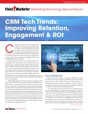 CRM Tech trends - Improving Retention and Engagement