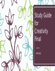 Study Guide for Creativity Final