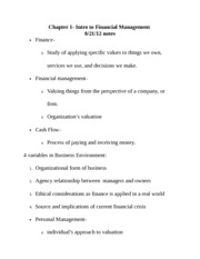 Chapter 1 Business Finance notes