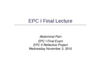 EPC I Final Lecture (PowerPoint)