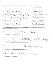 Reactions 2 Worksheet Solution