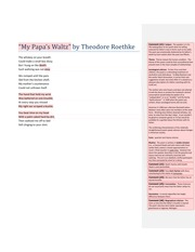my papas waltz by theodore roethke essay My papa's waltz is an intriguing poem, partly because of its ambiguity it can be read as both a story of a child terrorized by and abusive father and a child having a playful romp with his daddy.