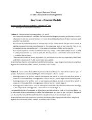 Recitation: Priocess Models (Exercises & Answers) - Operation Management 2016