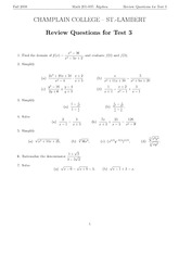 MATH 201 Fall 2007 Review Questions for Test 3 Solutions