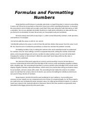 Formulas and Formatting Numbers