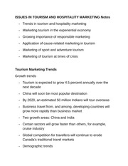 ISSUES IN TOURISM AND HOSPITALITY MARKETING Notes