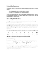 Probability Functions