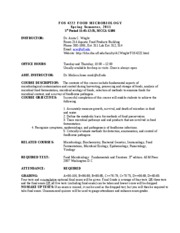 FOS 4222 FOOD MICROBIOLOGY Syllabus 2011