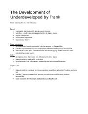 The Development of Underdeveloped by Frank.docx
