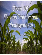 Chem 103 - Elecron Transfer and Photosynthesis