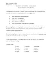 Bus 281 Learning Objective Worksheet