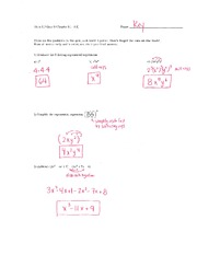 Math 115 Quiz 3 Key on Algebra