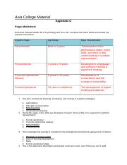 PSY 201  Week 5  Assignment  Piaget Worksheet