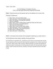 JustinSmith111 Unit 1 Learning Styles Assessment Assignment Worksheet