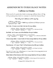 Addendum to Toxicolgy Notes Caffeine in drinks