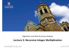 Lecture 3. Recursive Integer Multiplication
