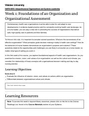 Week 1_ Foundations of an Organization and Organizational Assessment