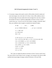 MAT 150 Special Assignment for Sections 7 3 - 7 4
