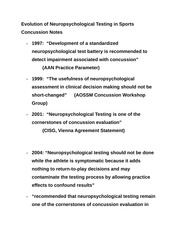 Evolution of Neuropsychological Testing in Sports Concussion Notes