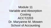 Module 11-Variable & Absorption Costing