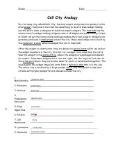 Cell CITY Analogy Worksheet (Knowledge, Application, Synthesis ...