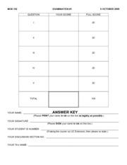 Exam _1 MCB 102 F09 ANS KEY