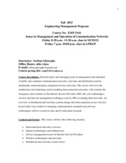 Syllabus for Issues in Management and Operation of Communication Networks