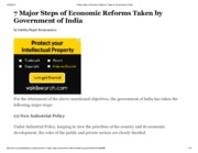 7 Major Steps of Economic Reforms Taken by Government of India