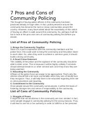 7 Pros and Cons of Community Policing docx - 7 Pros and Cons
