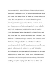 Essay on Beetlejuice and Death Denial