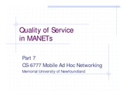 Quality of Service in MANETs