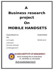 34725674-A-Business-Research-Project-on-MOBILE
