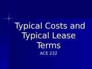 PPT 2  Typical Costs and Lease Terms With Blanks