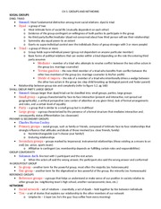 Groups and Networks Notes