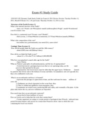 Dynamic Earth Study Guide Exam #1