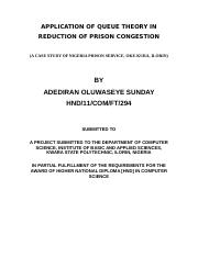 APPLICATION OF QUEUE THEORY IN REDUCTION OF PRISON CONGESTION new