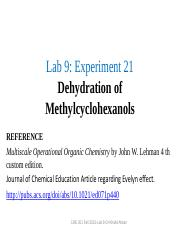 dehydration of methylcyclohexanol