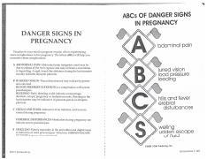 Unit 3, Danger Signs in Pregnancy pdf - DANGER SIGNS IN