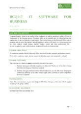 BCO117 IT SOFTWARE FOR BUSINESS