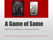 Final on Old Norse Influences on Game of Thrones
