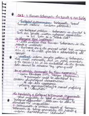 SOCI Chapter 2 Notes - Is Human Behaviour the Result of Our Biology