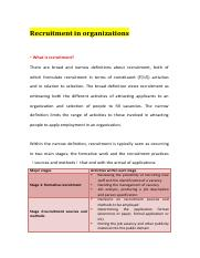 Recruitment in organizations