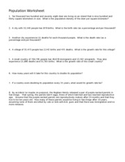 Population math worksheet  1