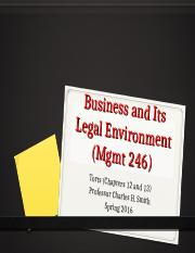Mgmt 246--Sp16 Torts-2.ppt